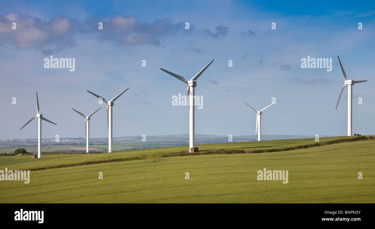 Wind farm turbines, near Truro Cornwall, UK - Stock Image