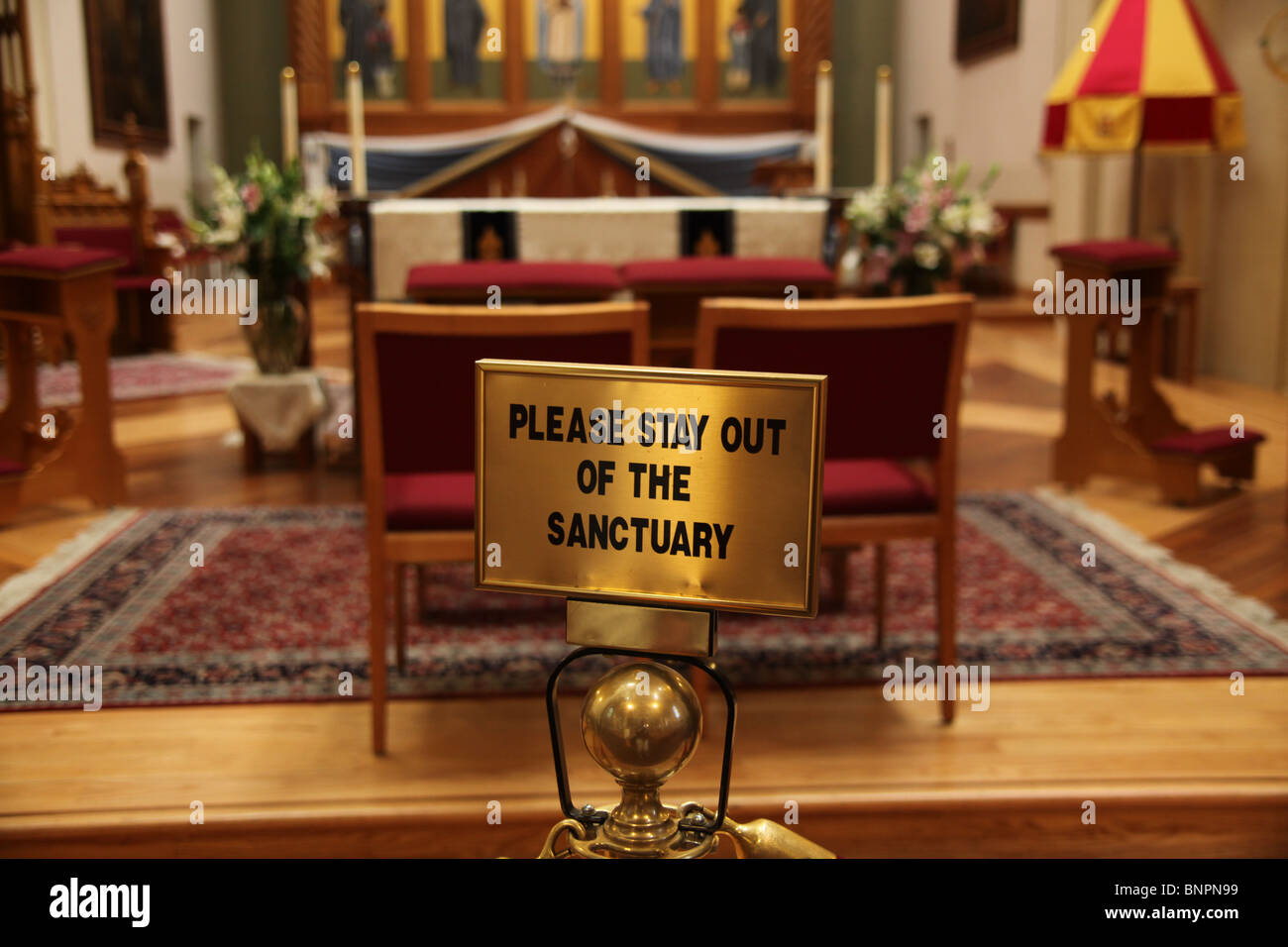 Stay out of the sanctuary sign at The Cathedral Basilica of St. Francis of Assisi, Santa Fe, New Mexico, June 11, - Stock Image