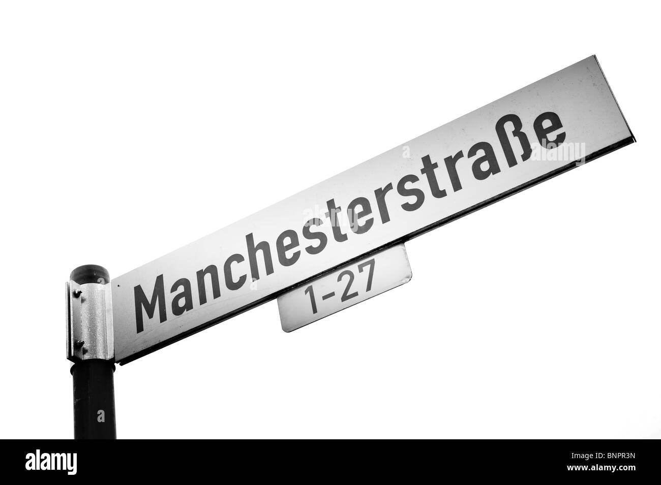 manchesterstrasse street sign bielefeld germany manchester - Stock Image