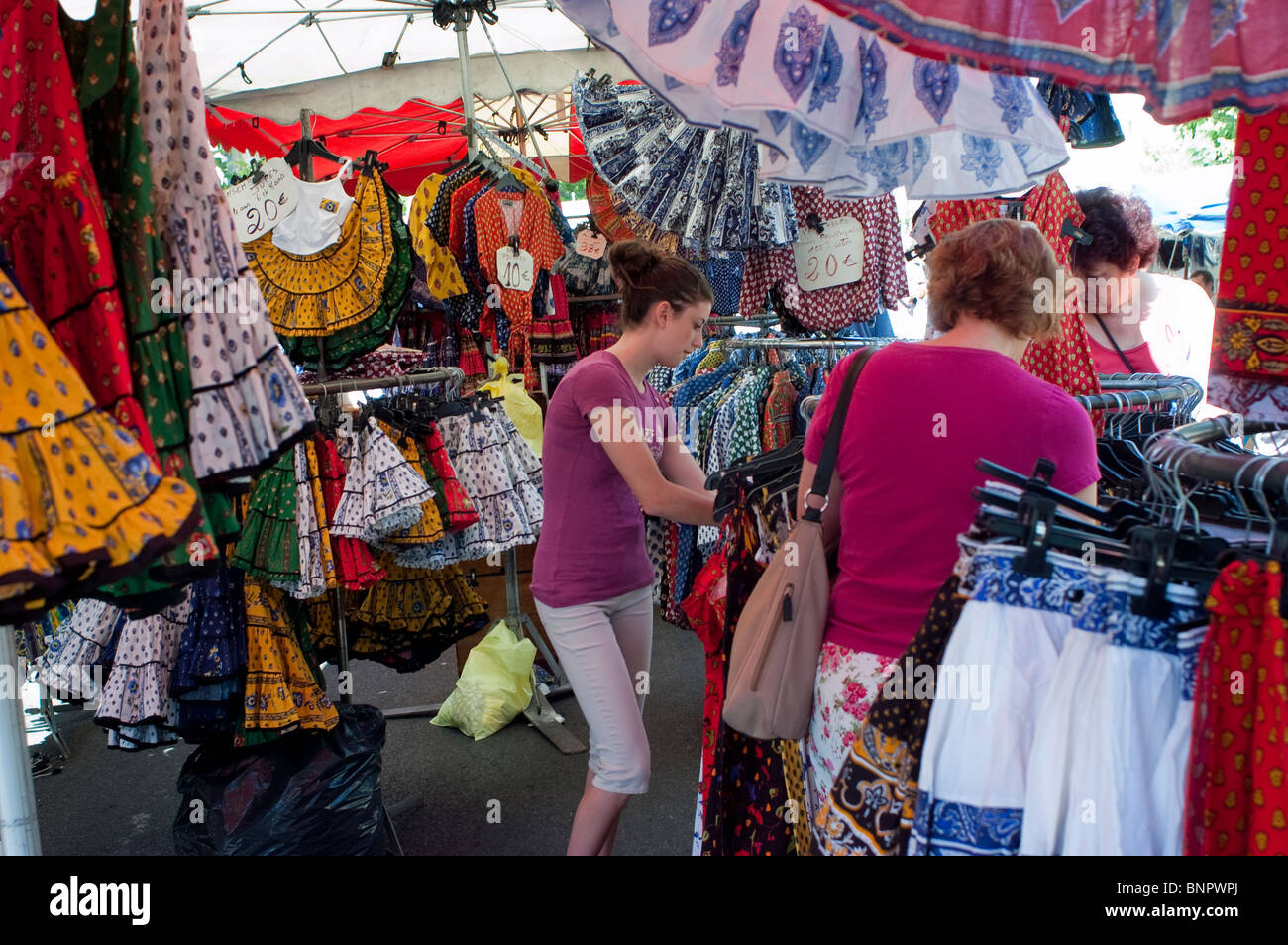 Arles, France, Female Teen Tourists Shopping in Local Provincial Stores, Locally Made Clothing, Souvenirs - Stock Image