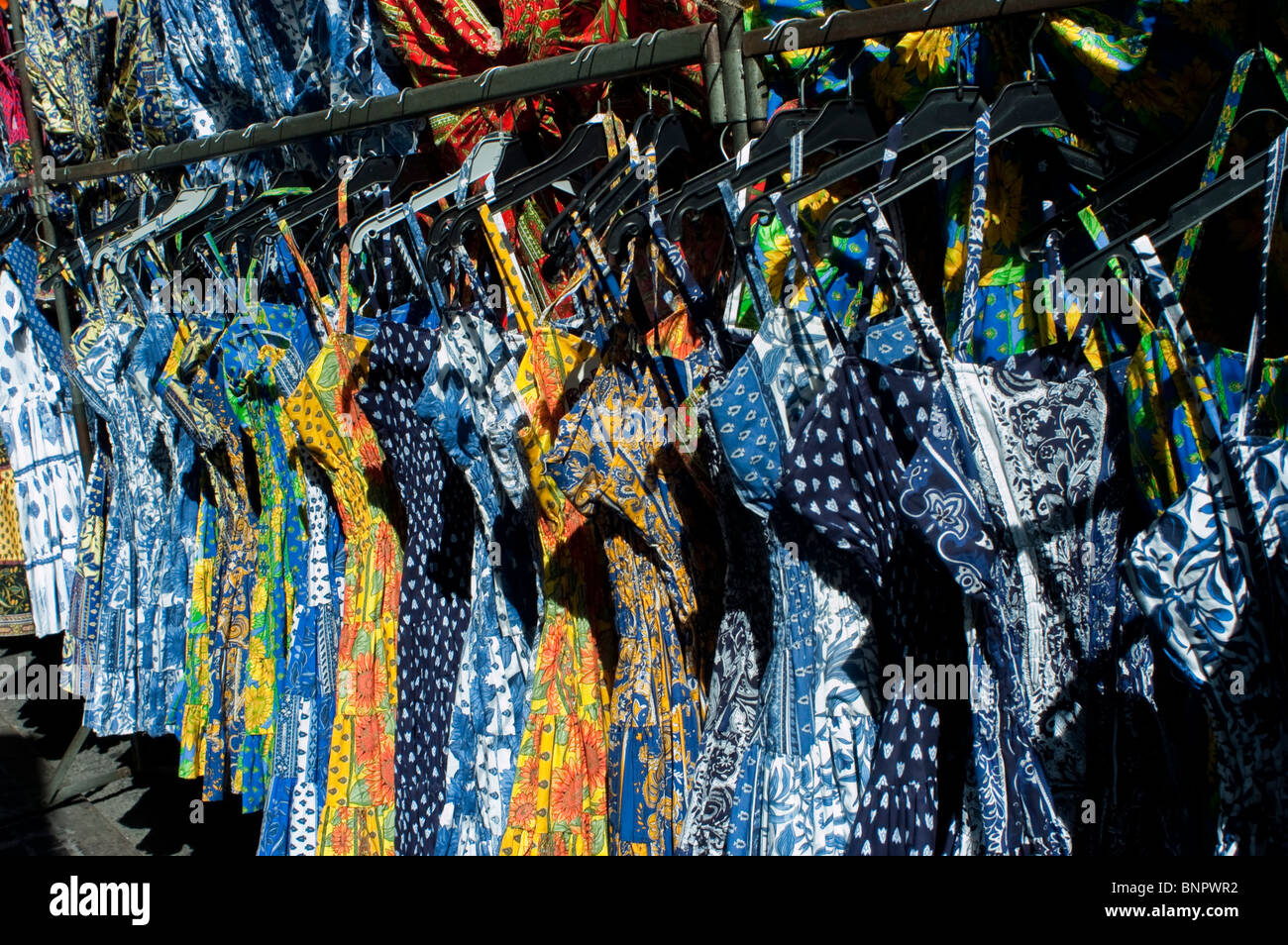 Arles, France, Summer Dresses on Display on Racks on Street Shopping in Local Provincial Stores, Locally Made Clothing, - Stock Image