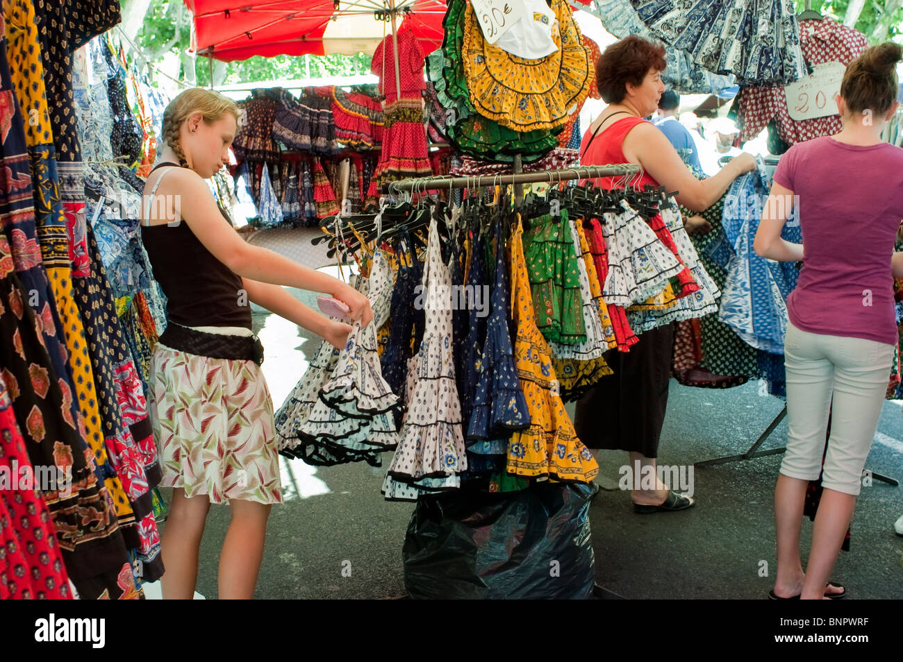 Arles, France, Tourists Teenagers Shopping in Local Provincial Stores, Locally Made Clothing, Souvenirs on Street - Stock Image