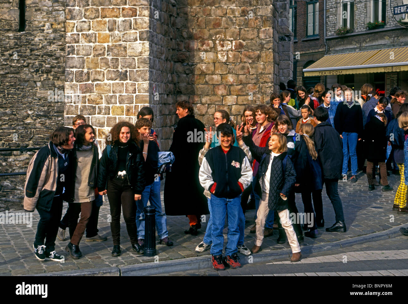 Belgian students, student field trip, city of Ghent, Ghent, East Flanders, East Flanders Province, Belgium, Europe - Stock Image