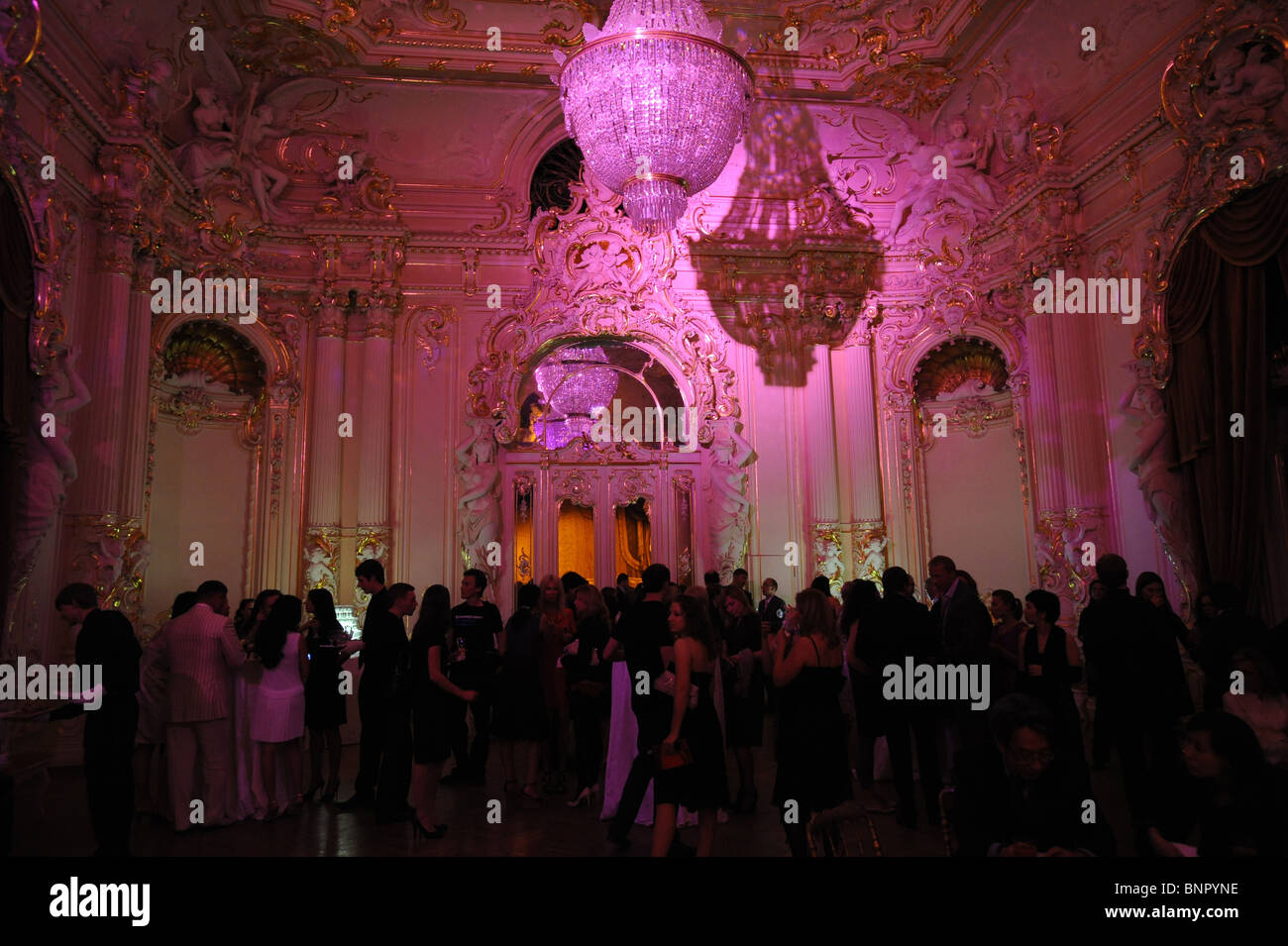 Guests in the Baron von Derviz Mansion, Saint Petersburg, Russia - Stock Image