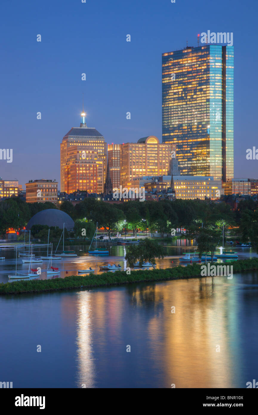 Twilight view of the Boston skyline including John Hancock Building as seen from the Longfellow Bridge. Stock Photo