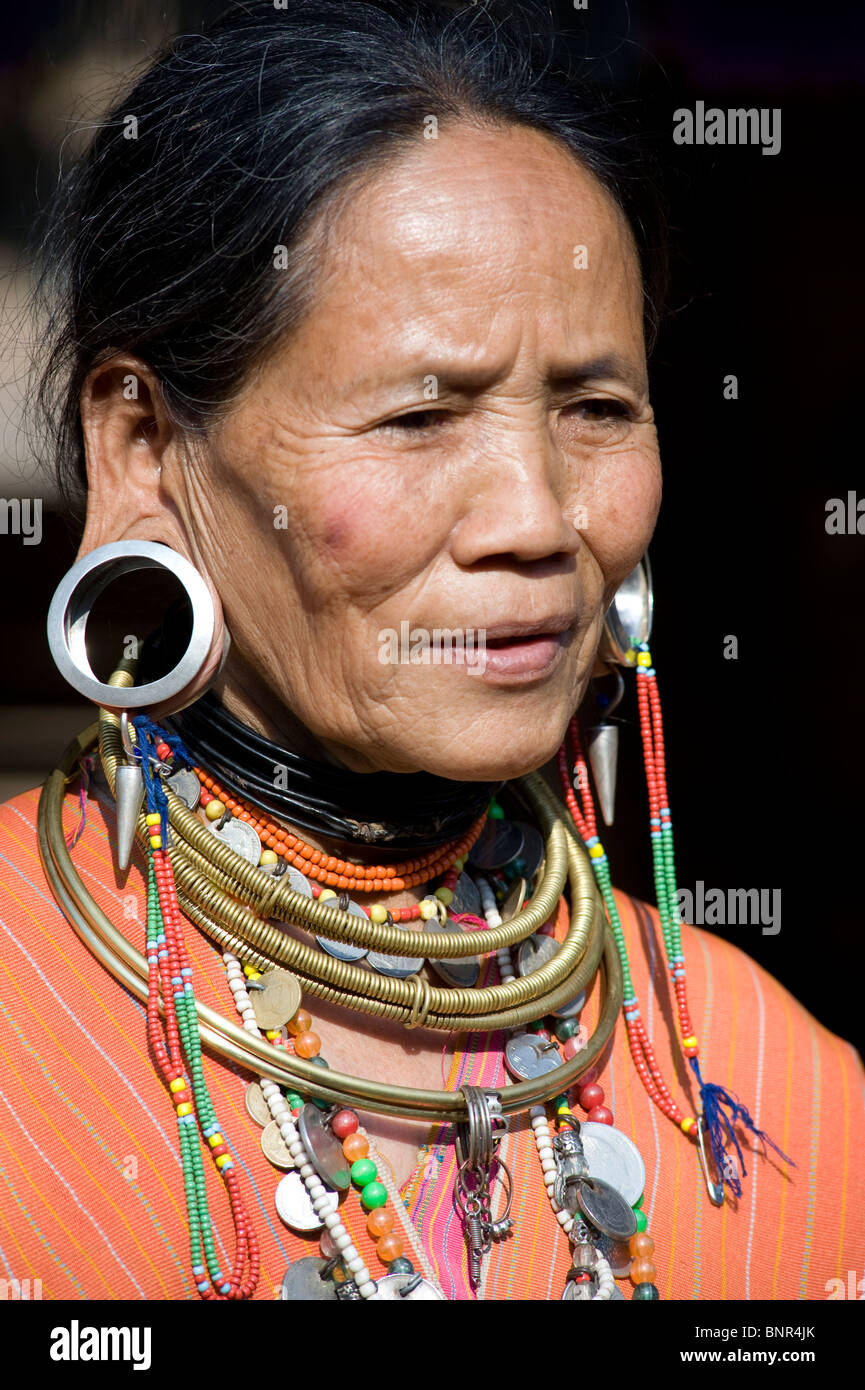 Myanmar people , portrait of a beautiful woman with necklace and earrings belonging to the ethnic group Koyo - Stock Image