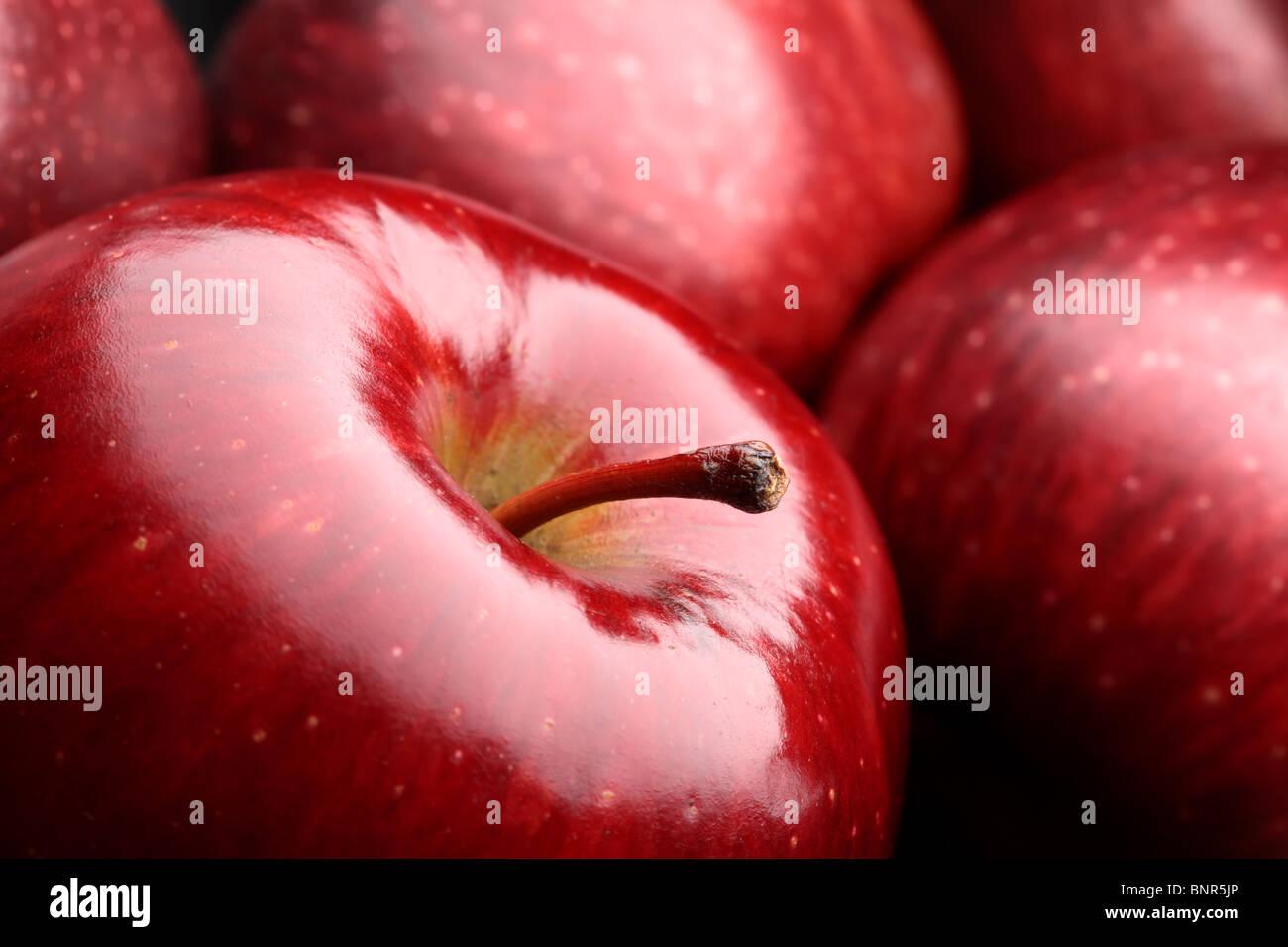 Close-up of fresh dark red apples Stock Photo