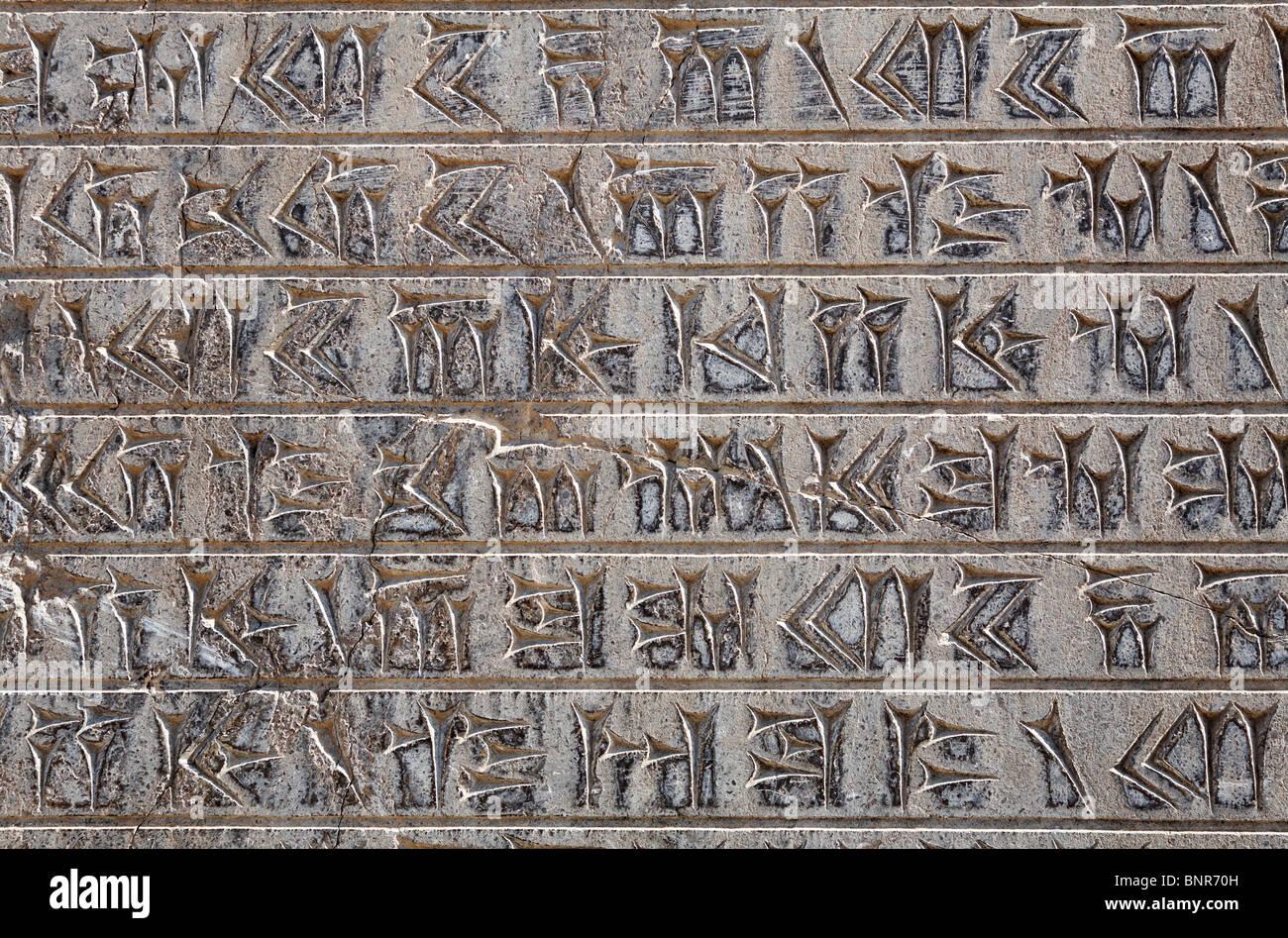 Iran - Persepolis - Carved cuneiform script - Stock Image