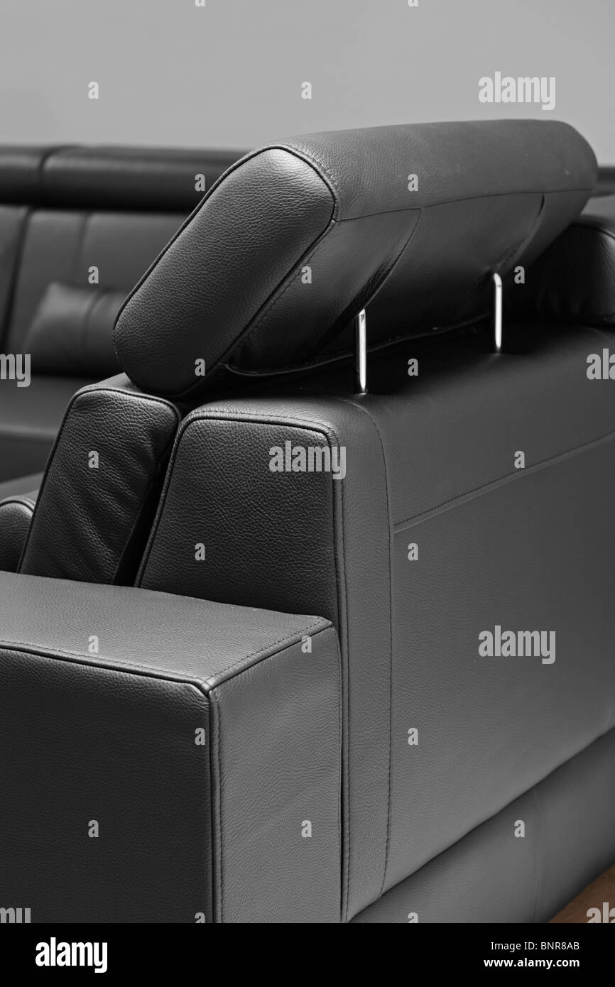 A detail of modern leather black sofa Stock Photo