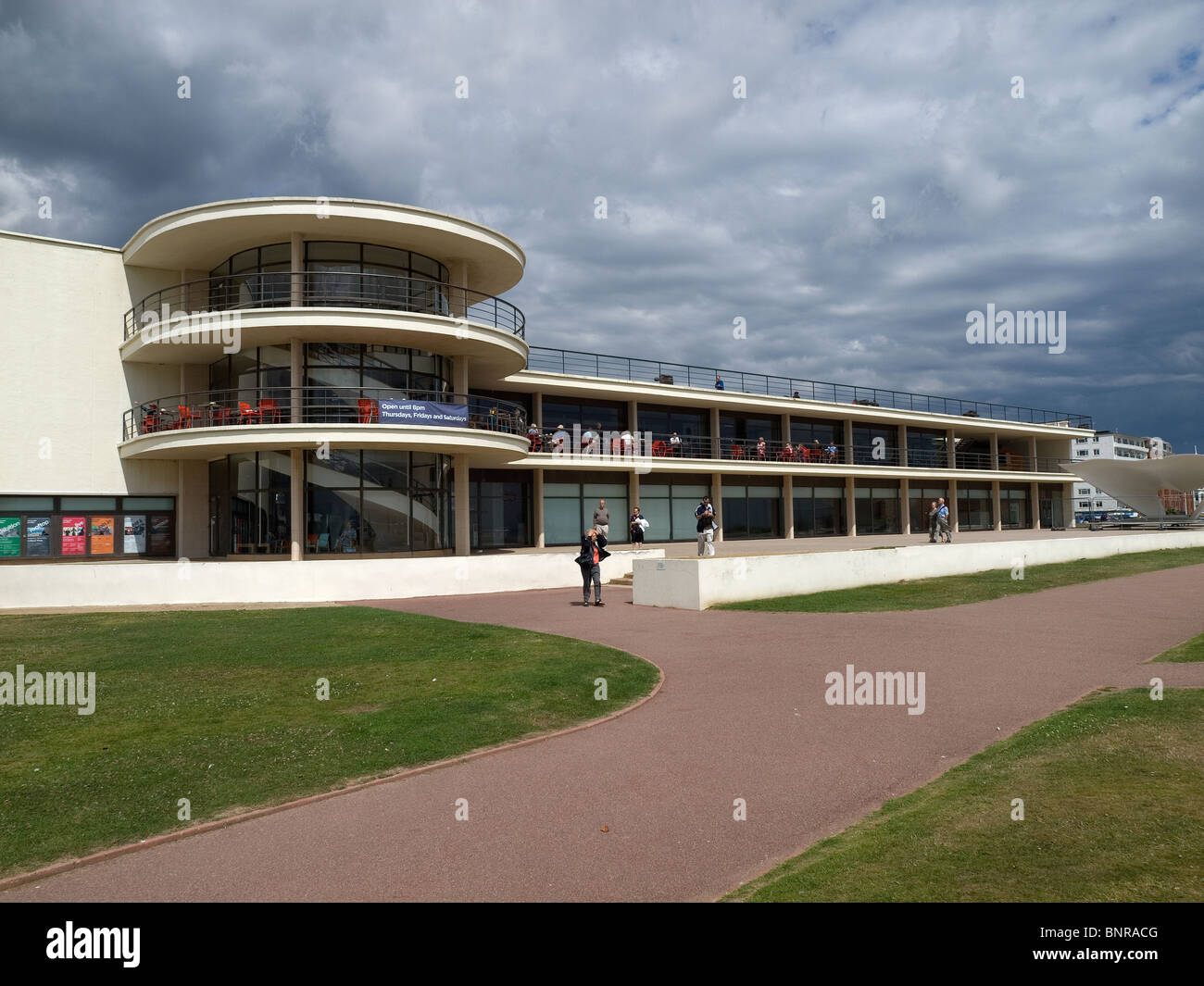 The recently refurbished modernist De La Warr Pavilion Bexhill on sea Sussex Stock Photo