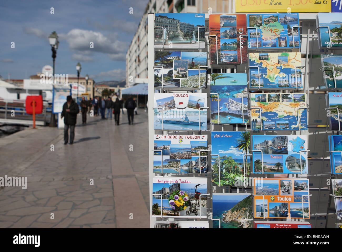 Rack of picture postcards in Toulon, France - Stock Image