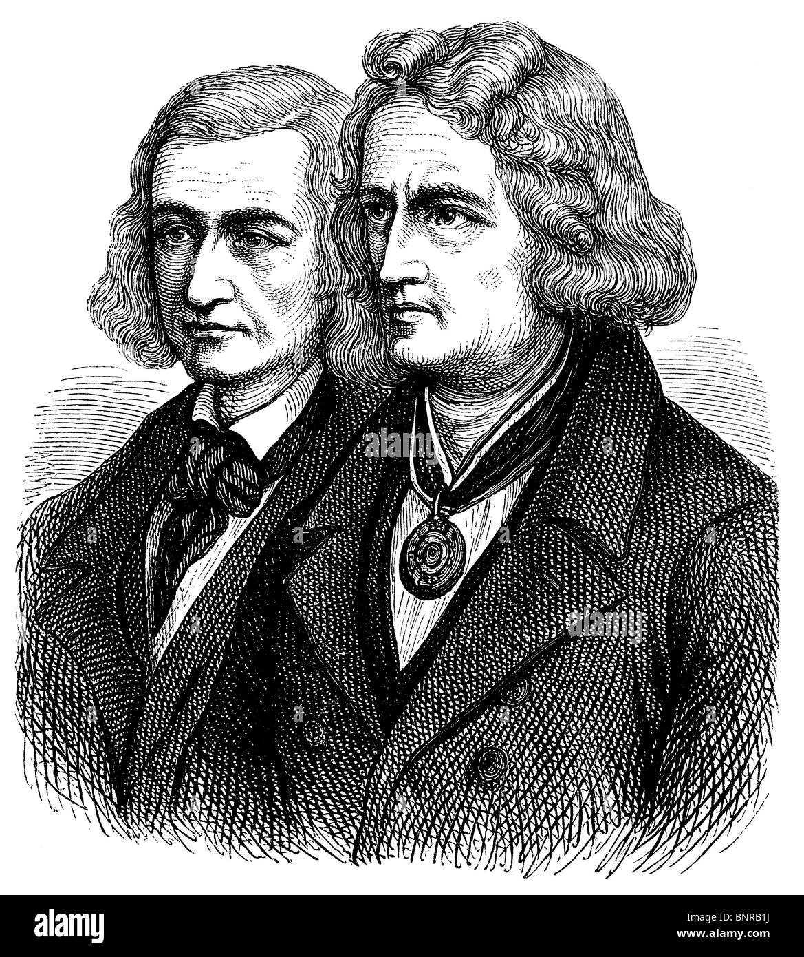 Brothers Grimm, Jakob Grimm, Wilhelm Grimm, collectors of fairy tales - Stock Image