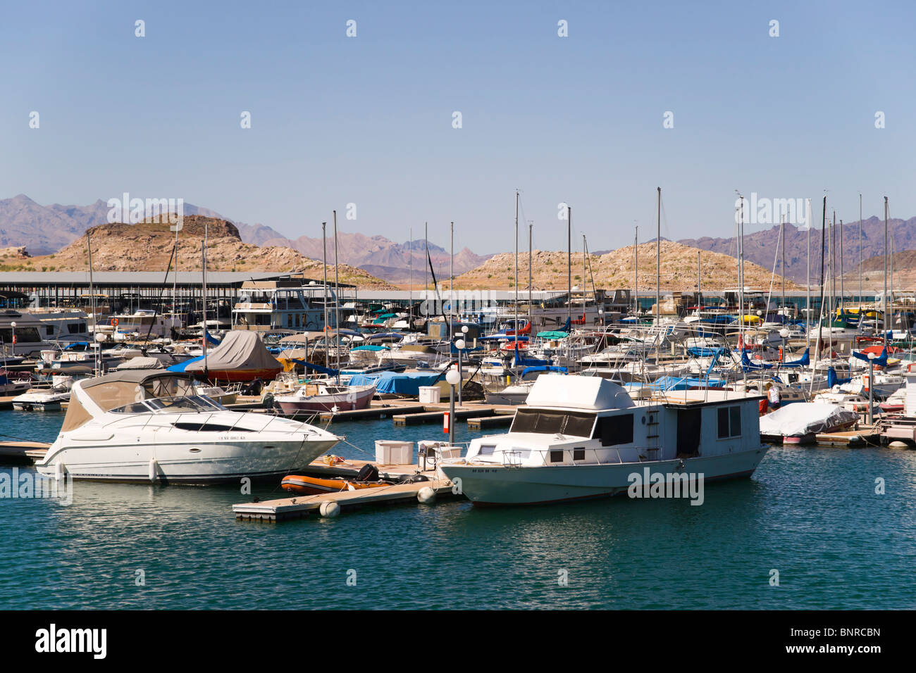 USA Nevada - Lake Mead recreation. The marina near the Hoover Dam south shore. Stock Photo