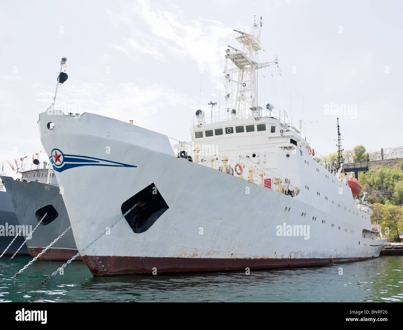 military ships anchored at Sevastopol repair port - Stock Image