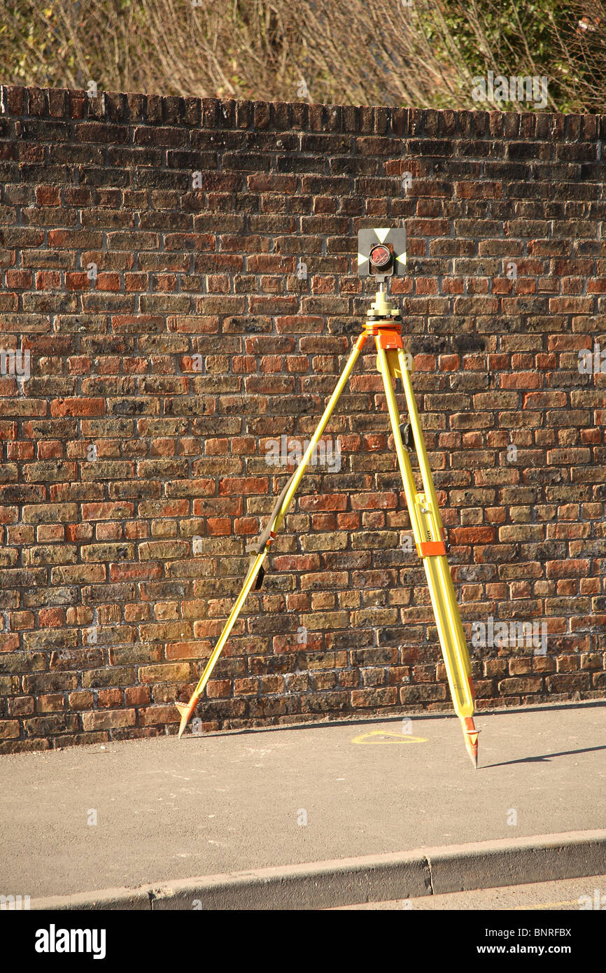 Land surveyor reference point on a tripod - Stock Image