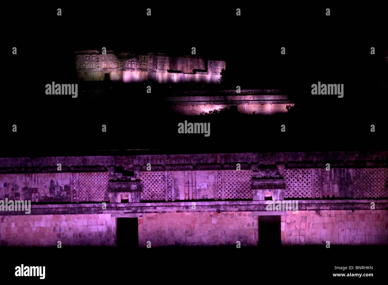 Mayan ruins of Uxmal are illuminated during a theatric laser light show in the Yucatan peninsula, Mexico, July 15, - Stock Image