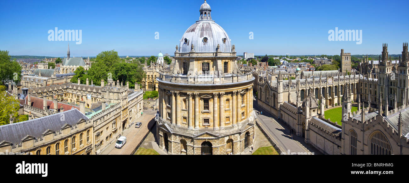 Panoramic view of The Radcliffe Camera at Oxford in England from the tower of St Mary's Church - Stock Image