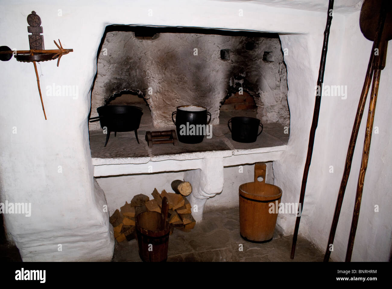 Old Fashioned Stove in Roznov Wooden Village, Czech Republic - Stock Image