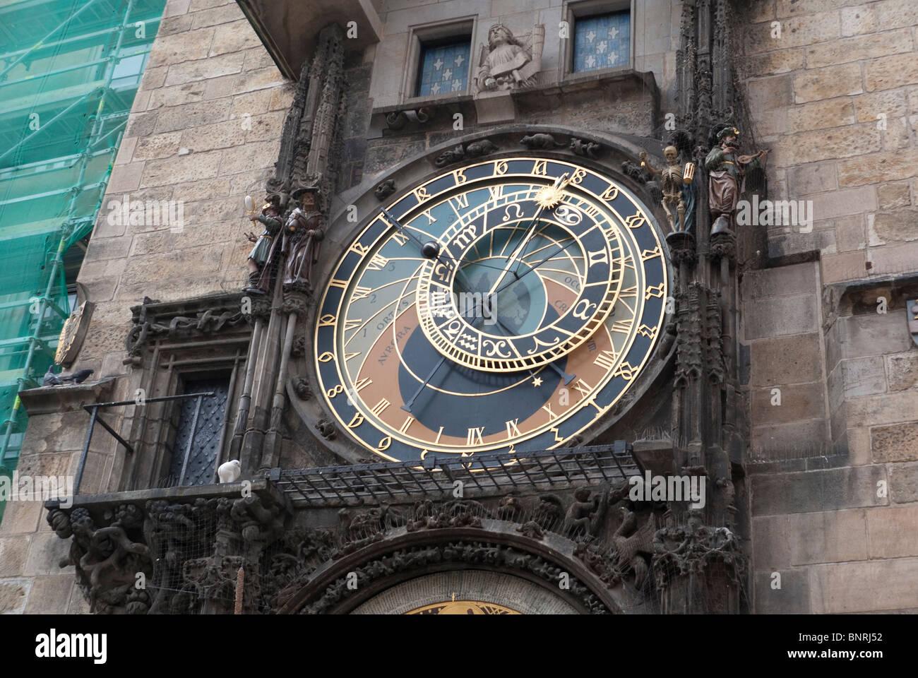 Prazsky Orloj Clock in Staromestske Namesti, Main Square in Prague Stock Photo