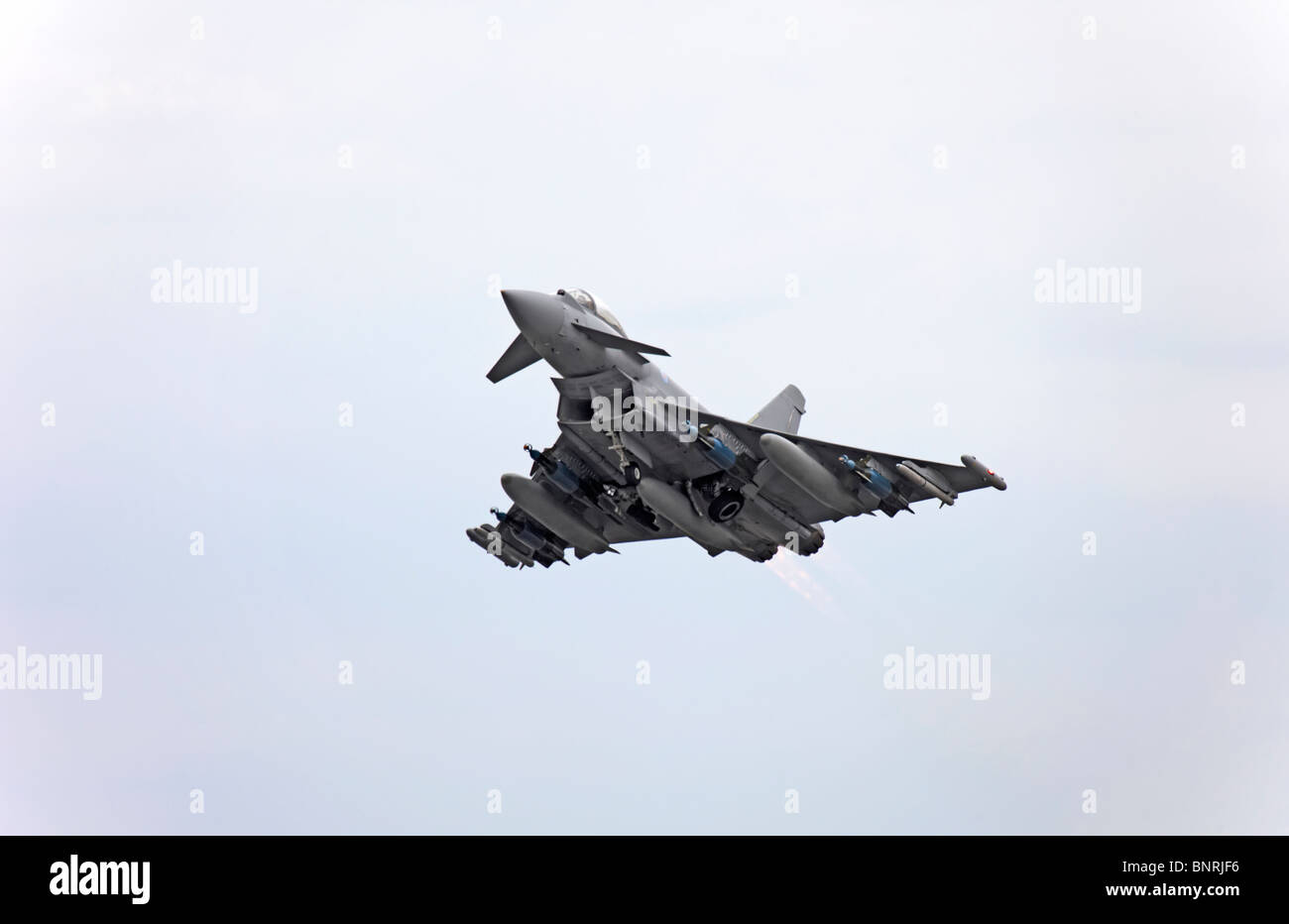 Farnborough BAE Systems Eurofighter Typhoon full weapons load - Stock Image