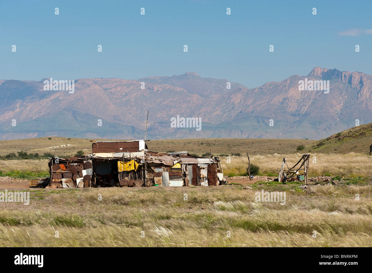 Shack with the Brandberg in the background Namibia - Stock Image