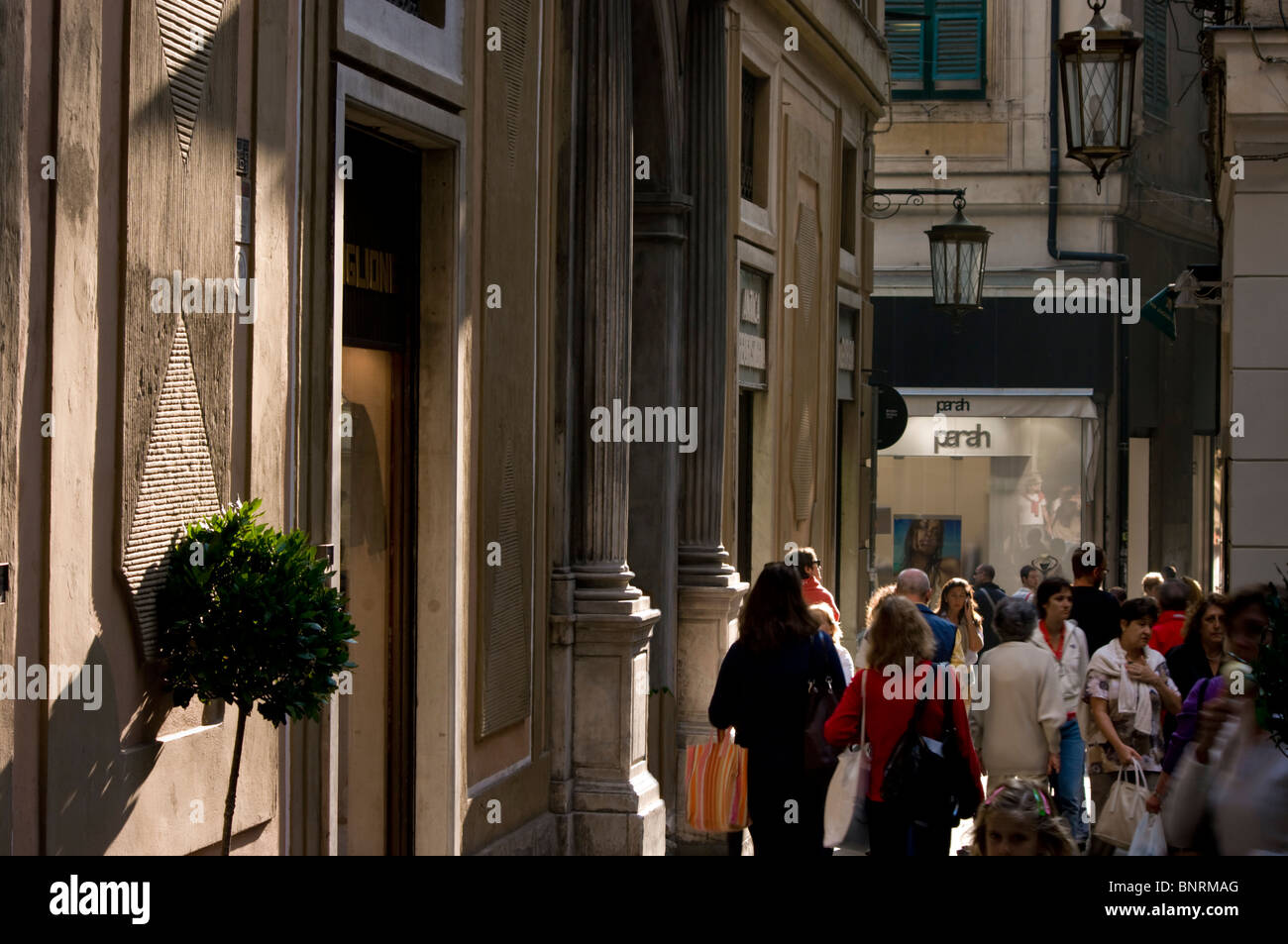 Europe, Italy, Liguria, Genoa port streetscene - Stock Image