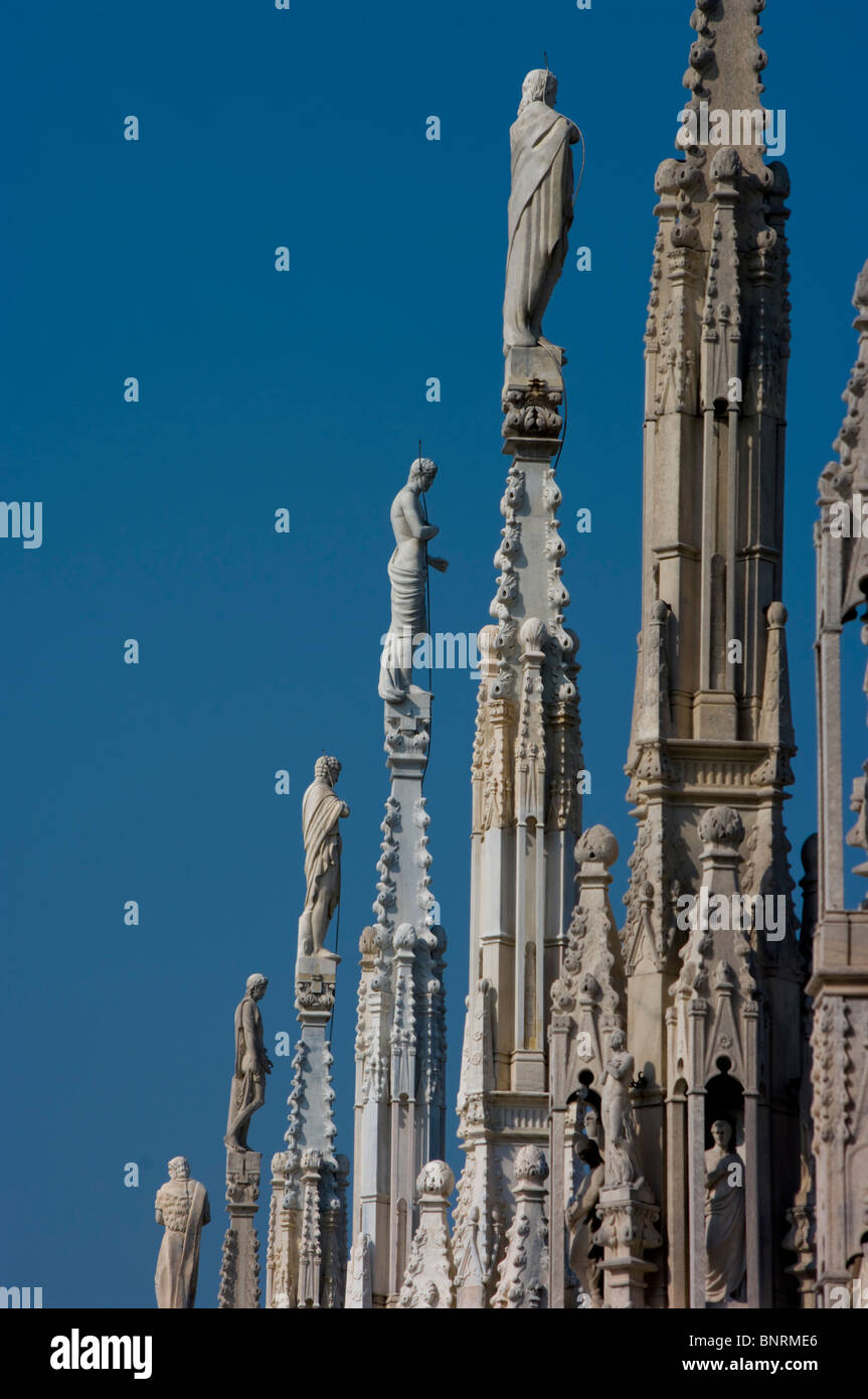 Europe, Italy, Lombardy, milan cathedral roof - Stock Image