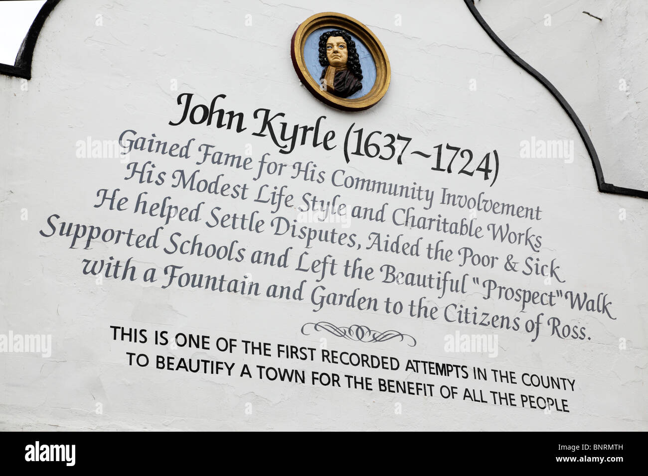 Facade of the Man Of Ross Inn dedicated to John Kyrle a charitable worker 1637-1724 Wye Street Ross-On-Wye herefordshire - Stock Image
