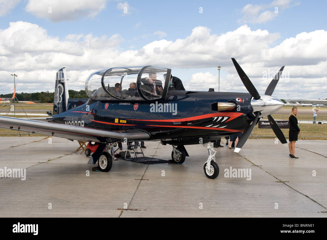 Raytheon T6 Texan 2 training aircraft at Farnborough International Air Show 2010 Great Britain - Stock Image