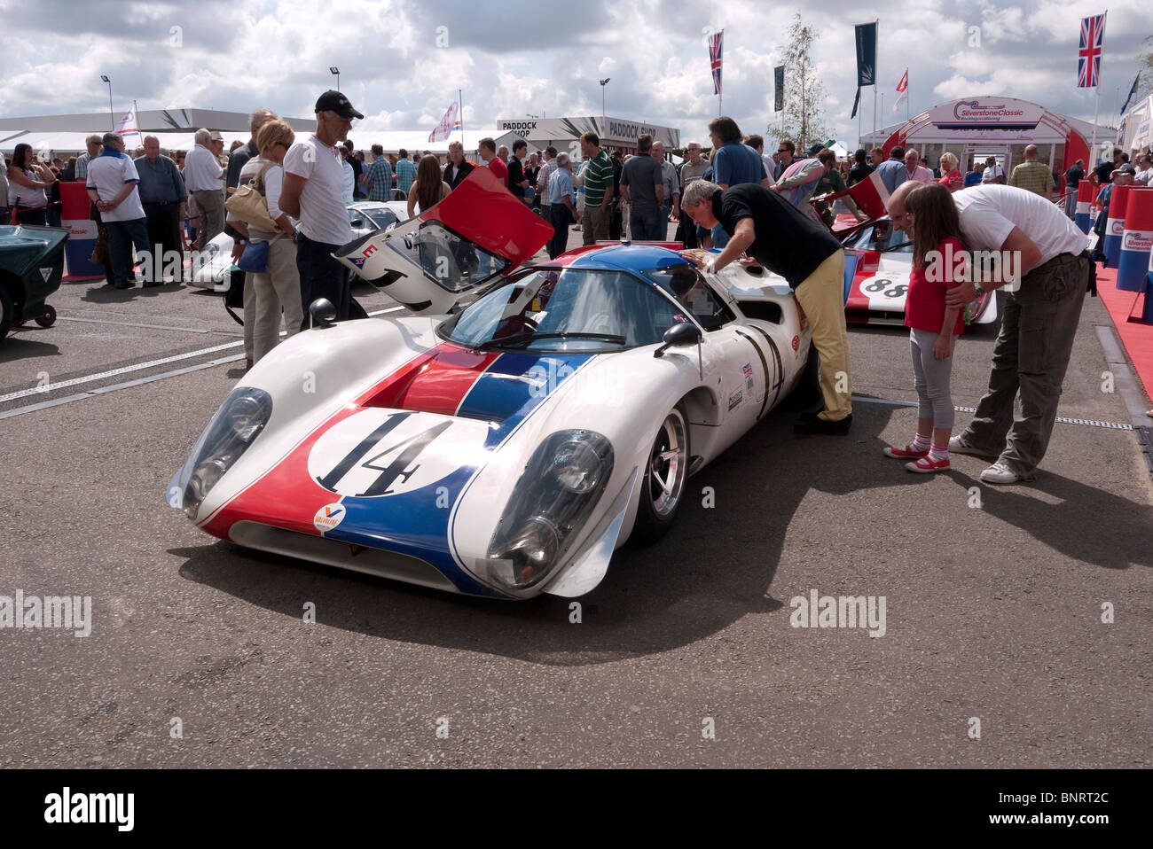 Lola T70 in the paddock before race at Silverstone Classic. - Stock Image