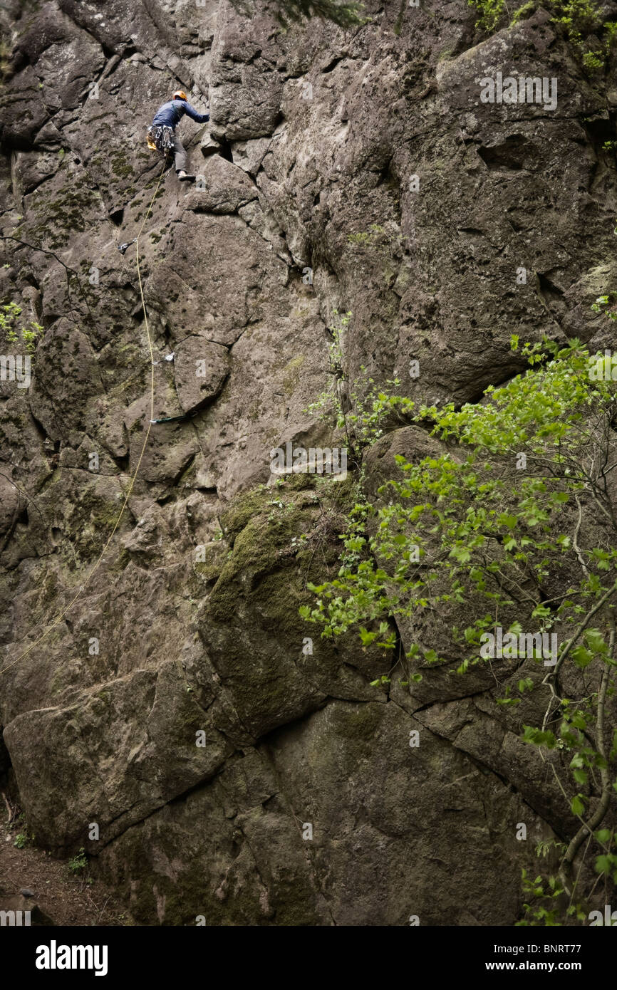 A lead climber on a rock face. - Stock Image