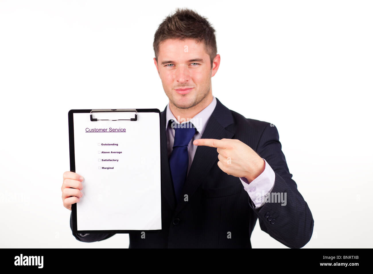 businessman with customer service report - Stock Image