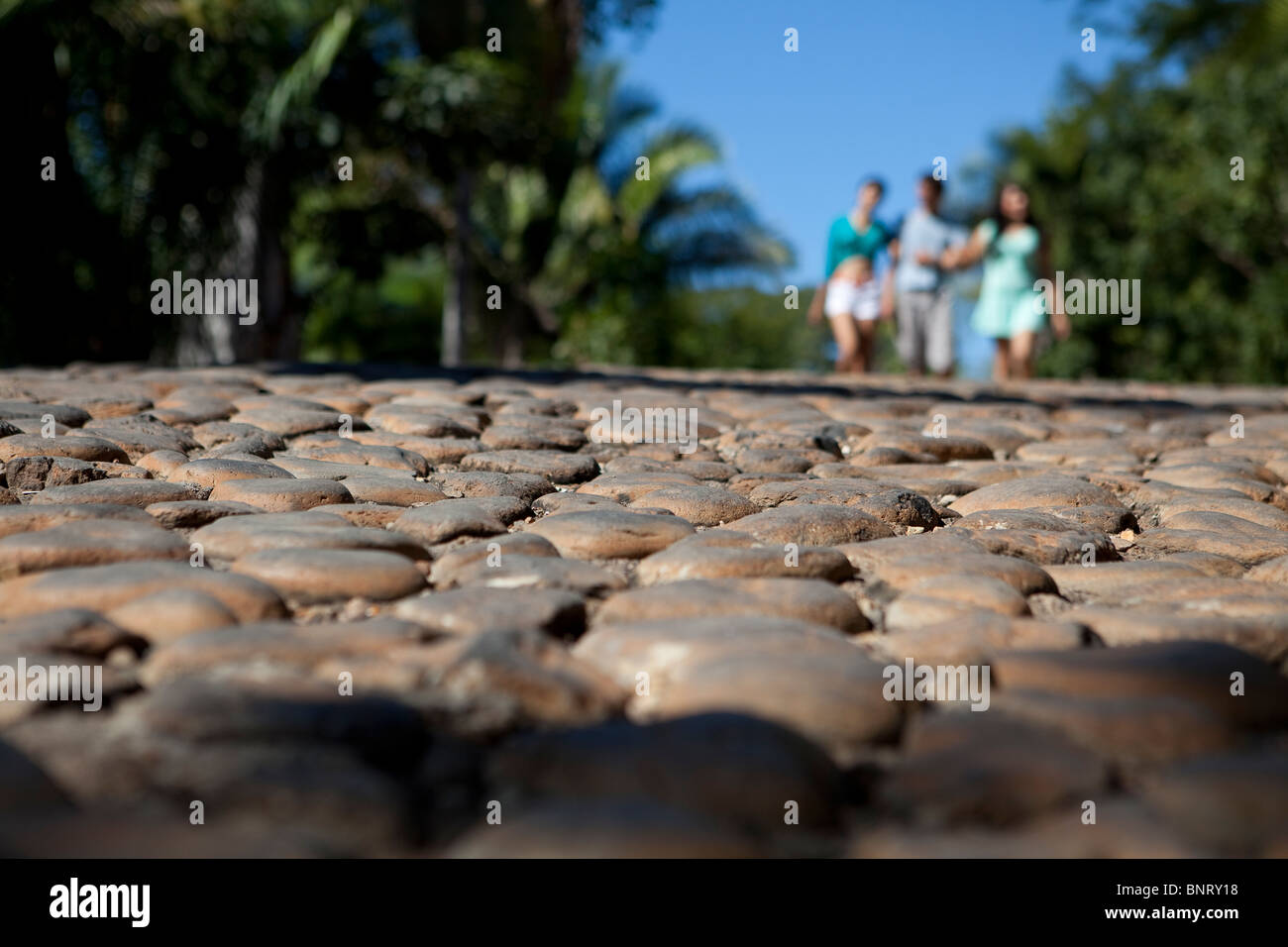 Three young adults stroll down a sunny cobble stone street. - Stock Image