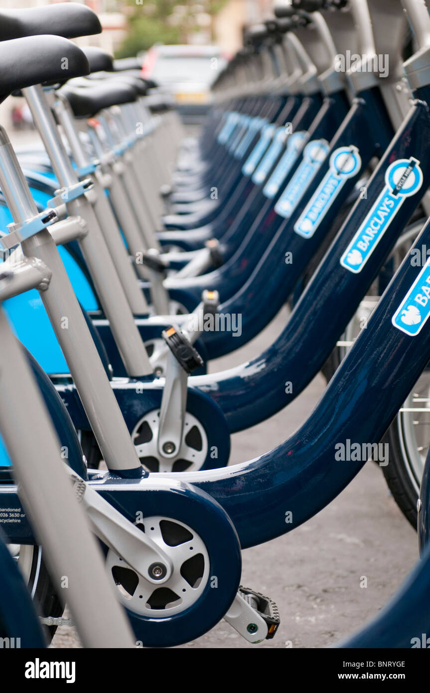The new bike hire scheme organized by Boris Johnson gets under way in London - Stock Image