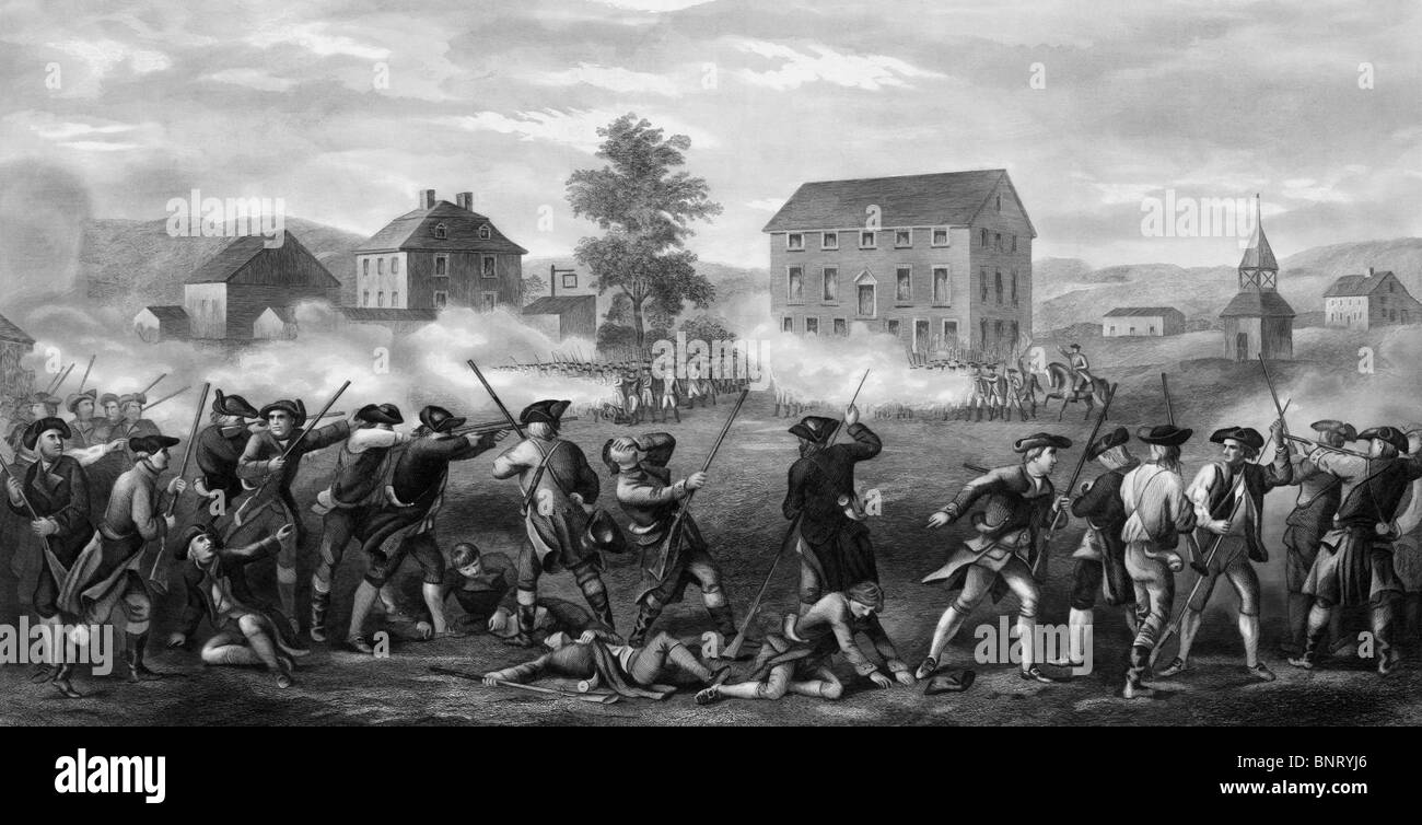 Vintage print depicting the Battle of Lexington on April 19 1775 - the first military engagement of the American - Stock Image
