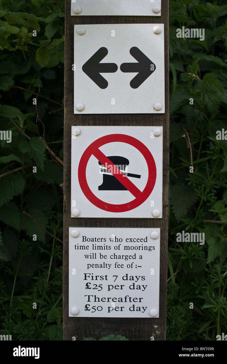Dirty 'No Mooring' sign on Kennet & Avon canal UK - Stock Image