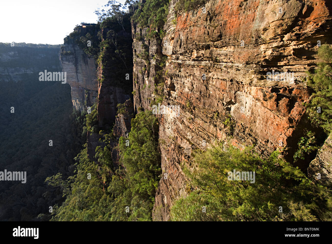 Large orange and grey cliff above jungle. - Stock Image