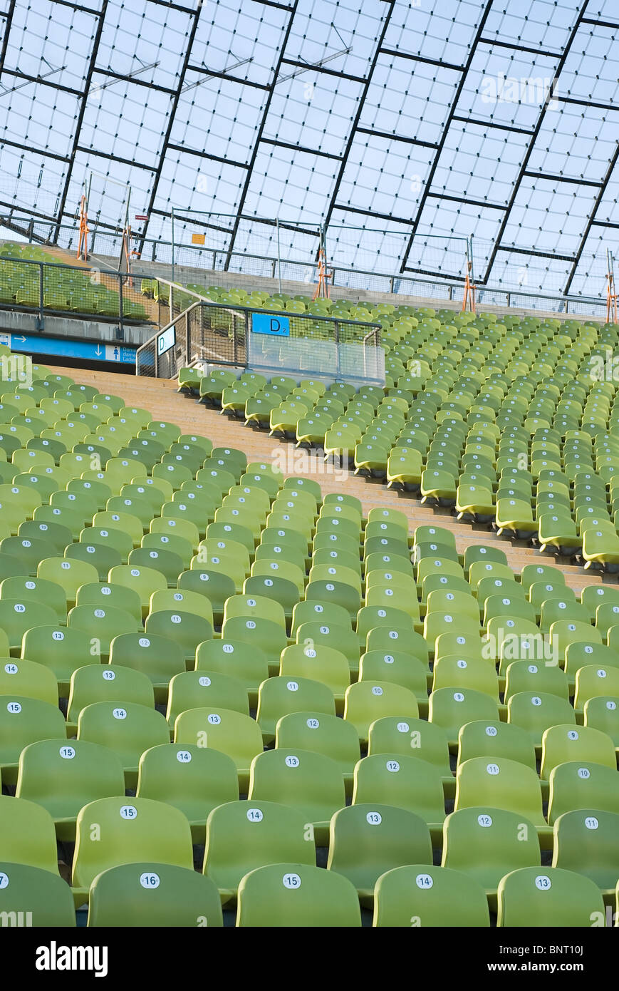 Athletic Stadium with Rows of Empty Seats - Stock Image