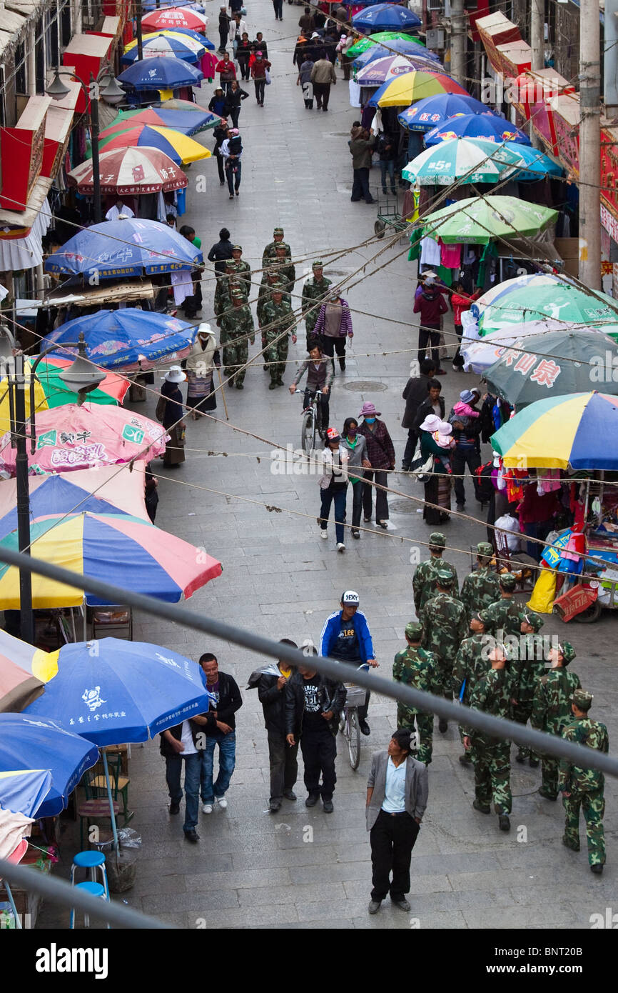 PRC soldiers in Lhasa, Tibet - Stock Image