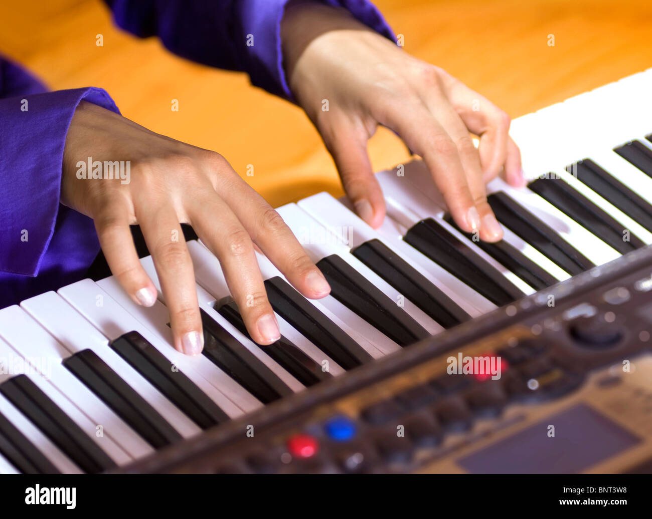 hands of pianist that plays the modern sequencer - Stock Image