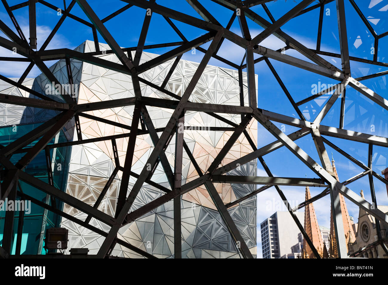 Iconic architecture of Federation Square in Melbourne, Victoria, AUSTRALIA. - Stock Image