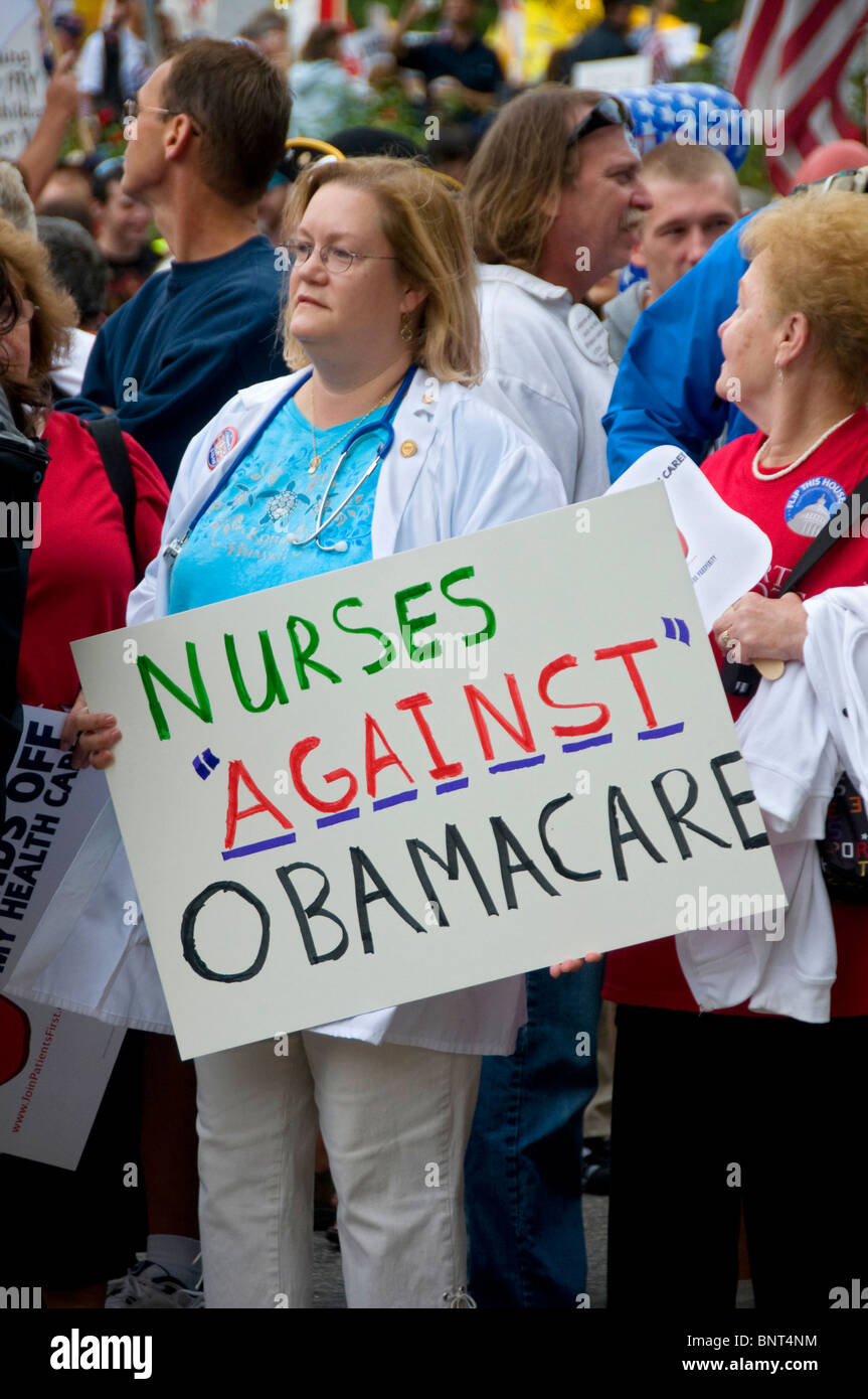 Nurses Protest Health Care at Rally Demonstration Washington DC Against Government - Stock Image