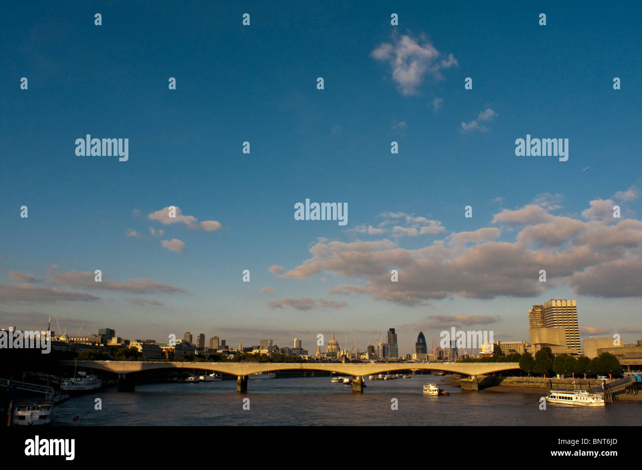 South Bank , Waterloo Bridge and the river Thames from Hungerford Bridge, 18 August 2009. Stock Photo