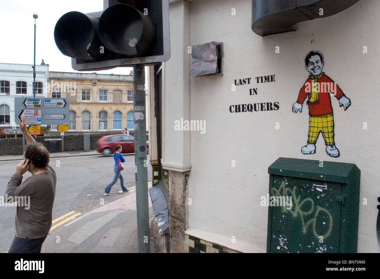 Graffiti by Nick Walker,  depicting Tony Blair dressed as Rupert Bear with the writing 'Last Time in Chequers' - Stock Image