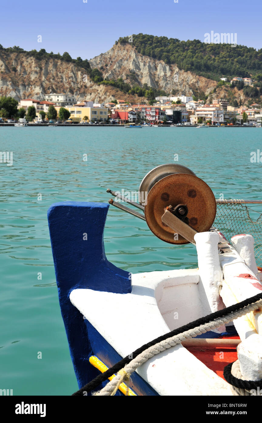 Stern of a traditional fishing boat moored on Zakinthos on the Ionian Islands, Greece. Focus on the foreground. - Stock Image