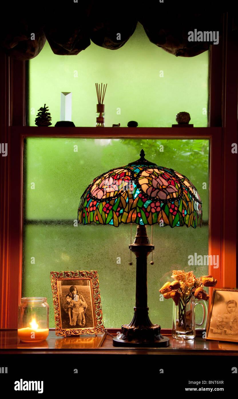 Nostalgic scene with Tiffany lamp. - Stock Image