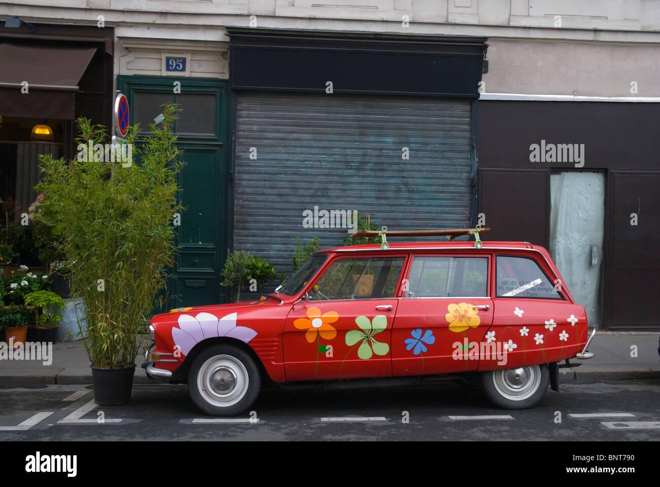 Flower shop exterior Le Marais district central Paris France Europe - Stock Image