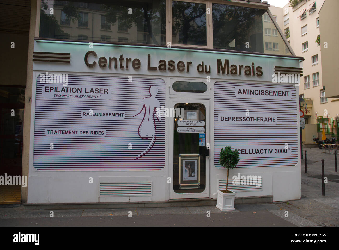Laser treatment therapy centre Le Marais district central Paris France Europe - Stock Image