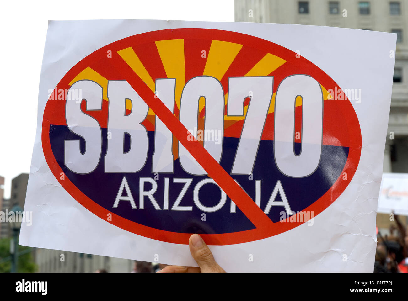 The 'We Are All Arizona' march in NYC on July 29th, Brooklyn-Manhattan, Protesting the SB 1070 Arizona Law. - Stock Image