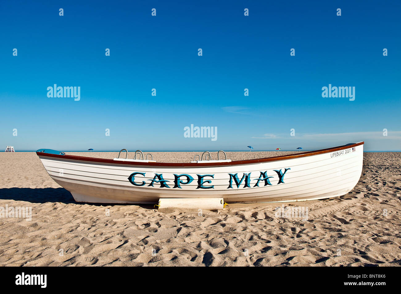 Lifeguard resue boat, Cape May, New Jersey, USA - Stock Image